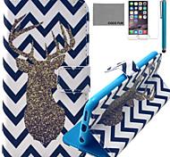 padrão de veados onda estojo de couro pu Coco fun® com protetor de tela e cabo USB e caneta para Iphone 6