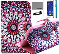 COCO FUN® Purple Circle Floral Pattern PU Leather Case with and USB Cable and Stylus for Samsung Galaxy Core Prime G360