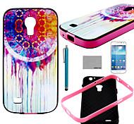 Coco Fun® colorido patrón de flor del tpu suave caja trasera con protector de pantalla y el stylus para mini i9190 Samsung Galaxy S4