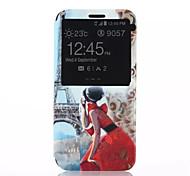 beleza padrão de rotação de 360 graus com o caso de janelas de material de corpo inteiro pu para Samsung Galaxy S6