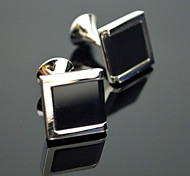Toonykelly® Fashion Men's Silver Plated Black Glass Cufflink Button(1 Pair)
