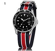 Men's Calendar Analog Round Dial Fabric Band Japan Quartz Sport Watch Men's Watch Gift Watch(Assorted Colors)