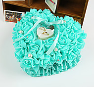 Rose Heart Shape Ring Pillow with Rhinestone and Ribbon Jewelry Ring Box