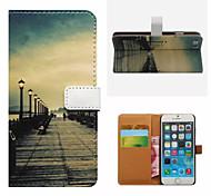 retro Brücke Muster Brieftasche Karte pu Fall mit Ständer für iPhone 6
