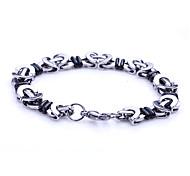 Lureme® Fashion Man's Titanium Steel Black White Chain&Link Bracelets