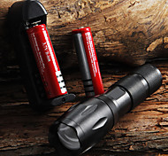 E17 CREE XM-L T6 2000 LM High Power Zoomable LED Flashlight Torch light (1x18650) + 2*Battery + Charger