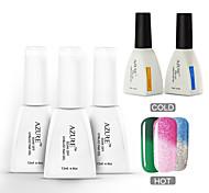 Azure 5 Pcs/Lot Nail Polish Chameleon Temperature Color Changing Nail Art Soak Off UV Gel Nail (#38+#42+#46+BASE+TOP)