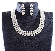 Women's Fashion New Wild Pearl Necklace Earrings Suit Dress Accessories