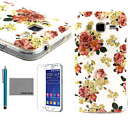 COCO FUN® Rose White Pattern PU Leather Case with Screen Protector and Stylus for Samsung Galaxy Core Prime G360