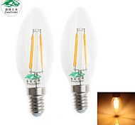 Zweihnder E14 4W 380LM 3000-3500K LED Tungsten Core Warm Light Candle Light (AC 220-240V,2Pcs)