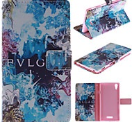 Blue Beautiful Design PU Leather Stand Case with Card Slot for Sony Xperia T3