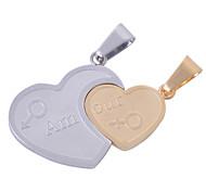 2pcs inoxidable colgantes de plata de acero y corazón de oro encantos para los amantes