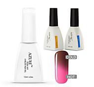 Azure 3 Pcs/Lot Gel Polish Chameleon Temperature Color Change Nail Art Soak Off UV Gel Nail (#04+BASE+TOP)