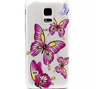 Relief Painting Purple Butterfly Pattern 0.2 Slim TPU Protective Shell for Samsung Galaxy S5 Mimi