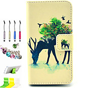 Deer Pattern PU All Inclusive With Slot Case and Stylus Pen Dust Plug Bracket Assembly for iPhone 4/4S
