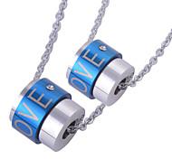 2pcs uomini donne distintive in acciaio inox argento-blu pendenti amore cilindrici incanta