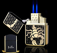 Personalized Gift Scorpion Design Boutique Metal Black Double Flame Butane Lighter