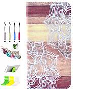 impressão padrão pu com tudo incluído caso fenda e caneta conjunto de obturador poeira suporte para iphone 6 mais