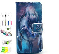 lobo padrão pu tudo incluído com o caso de entalhe e caneta conjunto de obturador poeira suporte para iphone 5c
