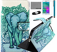 COCO FUN® Blue Cute Elephant Pattern PU Leather Case with Film and USB Cable and Stylus for Samsung Galaxy A3