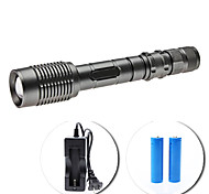 LED Flashlights/Torch / Handheld Flashlights/Torch LED 5 Mode 1600 Lumens Adjustable Focus Cree XM-L T6 18650 Others , Grey Aluminum alloy