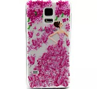 Relief Painting Flower Girl Pattern 0.2 Slim TPU Protective Shell for Samsung Galaxy S5 Mimi