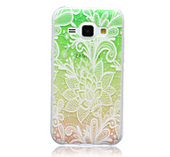Gradual Change Lace Flowers Pattern TPU Soft Back Cover Case  for Samsung Galaxy J1