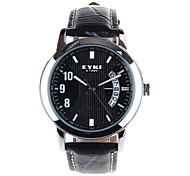 relógio de couro disco calendário relógio banda de pulso de quartzo dos homens