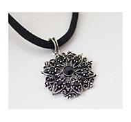 Retro Silver Black Short Paragraph Flash Diamond Necklaces 1pc