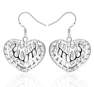 Women's S925 Silver Plated Hollow Out Heart-shaped Drop Earrings(Color Preserving More Than A Year)