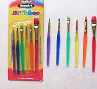 6 Colorful Tip Nylon Child Paint Brushes Nail Brush for Cake Fondant Cream(Random Color) 20*6*2 cm