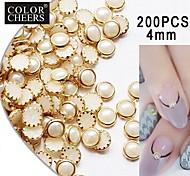 200pcs beige Perle Metall Umleimer Nagelkunstdekorationen, 4 mm
