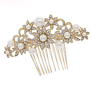 Gold Wedding Bridal Flower Hair Comb Headpiece with Imitation Pearl and Rhinestone