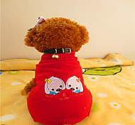 Sweaters for Dogs Red Winter XS / S / M / L Mixed Material