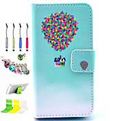 Balloon Pattern PU All Inclusive With Slot Case and Stylus Pen Dust Plug Bracket Assembly for iPhone 4/4S