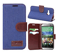 Luxury Denim U Leather Card Holder Wallet Flip Phone Holster For HTC M8 MINI(Assorted Color)