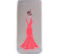 Slim Transparent Red Dress Pattern Soft Phone Case for iPhone 6/6S