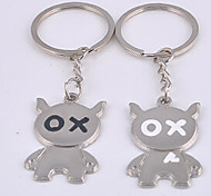 Stainless Steel Couple OX Key Chain Ring Keyring