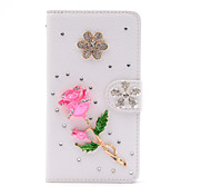 Handmade Diamond Pink Rose PU Leather Full Body Case with Kickstand for Samsung Galaxy Note 2/3/4/5