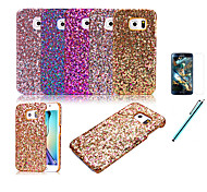 Luxury Flash Powder Oil Edge Stick a Skin For Samsung Galaxy S6 edge Protect Shell+Protective Film+Pen