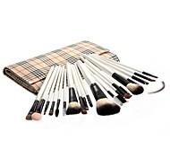 20pcs Makeup Brushes set Goat Hair Professional Powder/Foundation/Concealer/Blush brush Shadow/Eyeliner/Lip Brush Beige Plaid Pouch Bag Case