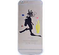 Slim Transparent Diving Pattern Soft Phone Case for iPhone 6 Plus