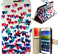 Colorful Heart Pattern with Card Bag Full Body Case for Samsung Galaxy S5 I9600