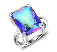 Friend Gift Fire Square Fire Mystic Topaz Gem 925 Silver Statement Flower Rings For Wedding Party Daily Casual 1pc