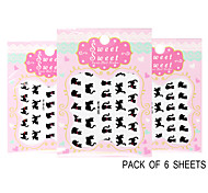 Pack of 6 Sheets 3D Nail Decals Nail sticker Animals The Cute Black Cats QJ-3D-621-623