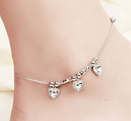 Vilam® Hot Girl Ankle Bracelet Bead Chain Simple Silver Three Heart Beads Silver Beads Anklet Foot Jewelry