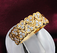 Z&X® 18K Gold Rhinestone Love Heart Statement Rings Party/Daily 1pc
