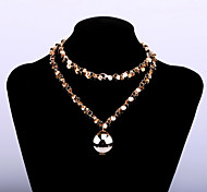 Fashion Women's Sweater Chain Long Necklace with Big Copper Ball Pendant
