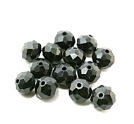Beadia 80PCS Glass Facetted Crystal Beads 8x10mm Flat Round Shape Black Color DIY Spacer Loose Beads
