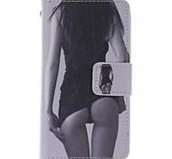 modèle de beauté pu cas de téléphone en cuir pour Sony Xperia e1